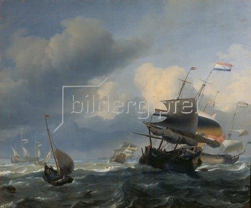 Ludolf Backhuyzen: Meereslandschaft mit Segelschiffen.