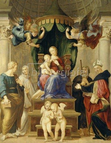 Raffael (Raffaello Sanzio): Die Madonna unter dem Baldachin.