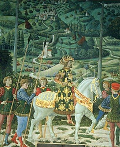 Benozzo Gozzoli: Der Zug der Hl. Drei Könige. Detail: Reitender König.