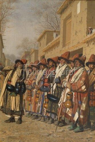 Wassili Werestschagin: Chor von Derwischen in Taschkent, um Almosen bittend. 1870