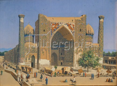 Wassili Werestschagin: Die Medrese Shir-Dhor am Registan Palast in Samarkand. 1869/1870