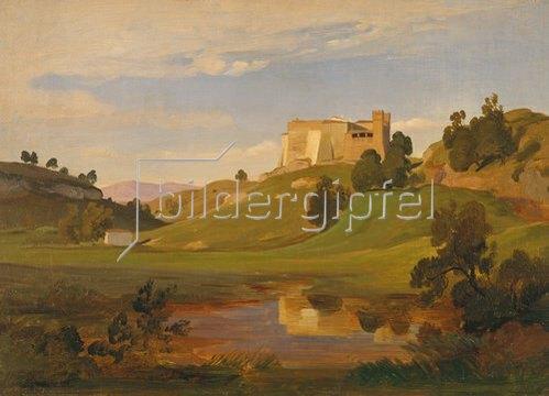 Eduard Wilhelm Pose: Italienische Landschaft mit breitem Tal.