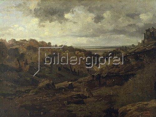 Jean-Baptiste Camille Corot: Italienische Landschaft bei Marino im Herbst. 1826.