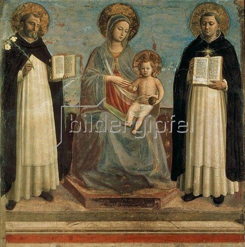 Fra Angelico: Die Madonna mit Kind und den Hll. Dominikus und Thomas von Aquin. 1424/30
