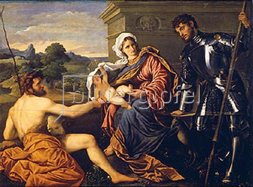 Paris Bordone: Madonna mit den Hll. Johannes d. Täufer und Georg. Um 1530.
