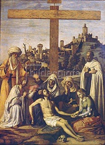 Cima da Conegliano: Die Beweinung Christi (mit einem Karmeliter-Mönch). Um 1510.