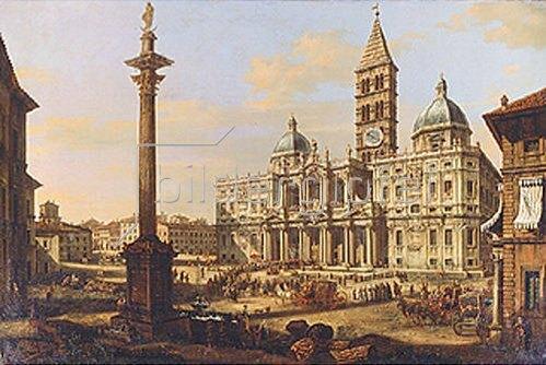 Bernardo (Canaletto) Bellotto: Die Kirche Santa Maria Maggiore in Rom. 1739.