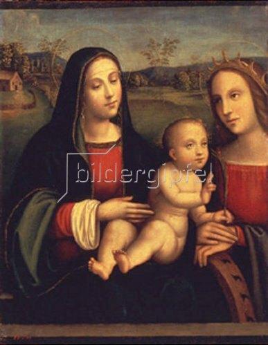 Francesco (Raibolini) Francia: Madonna mit Kind und einer Heiligen.