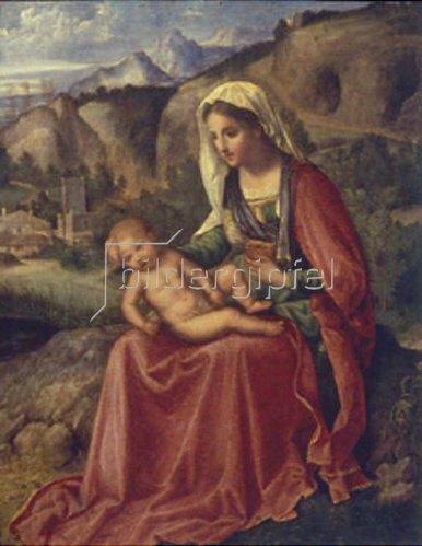 Giorgione (G.da Castelfranco): Maria mit dem Kind in einer Landschaft sitzend. 1504.