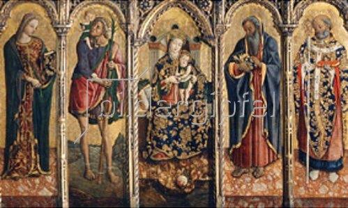Vittore Crivelli: Madonna mit dem Kind und vier Heiligen. Polyptichon. Um 1480.