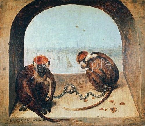 Pieter Brueghel d.Ä.: Zwei angekettete Affen. 1562