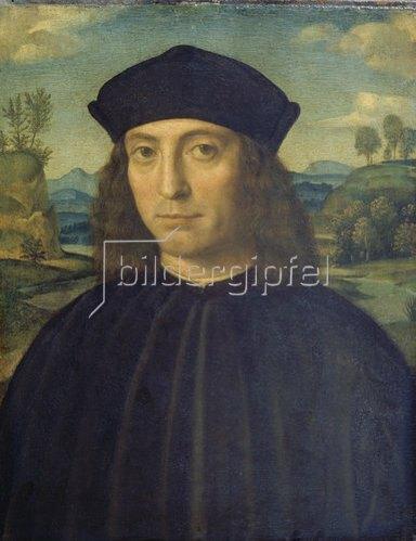 Francesco (Raibolini) Francia: Bildnis eines Mannes vor Landschaft.