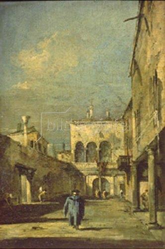 Francesco Guardi: Szene in Venedig. Um 1770.