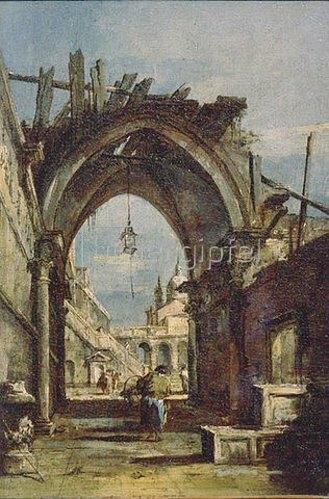 Francesco Guardi: Tordurchblick in Venedig. Um 1770.