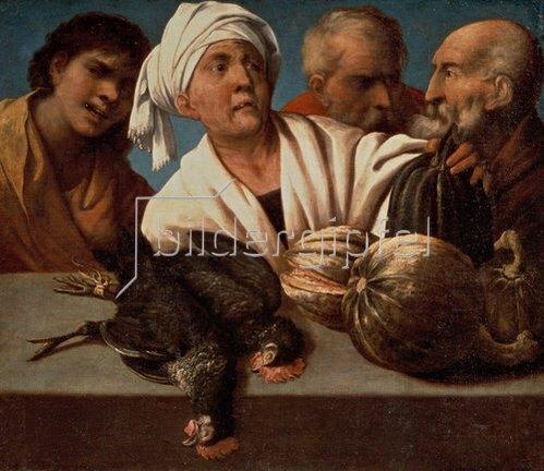 Pietro(della Vecchia) Muttoni: Genre-Szene mit geschlachteten Hähnen. Um 1650.