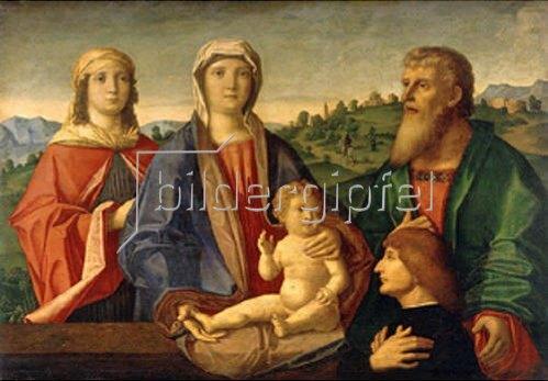 Pasqualino Veneto: Maria mit dem Kind, Heiligen und dem Stifter. 1504.