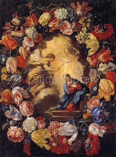 Carlo Maratta: Verkündigung Mariae in einem Blumenkranz.