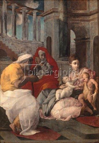 Francesco Primaticcio: Die Hl. Familie mit der Hl. Elisabeth und dem Johannesknaben. 1541.
