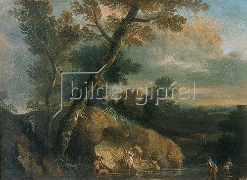 Salvator Rosa: Landschaft mit Badenden.