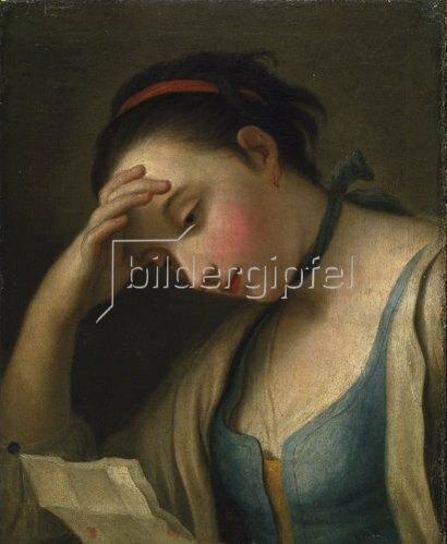 Pietro A. Kopie nach Rotari: Bildnis einer lesenden jungen Frau.