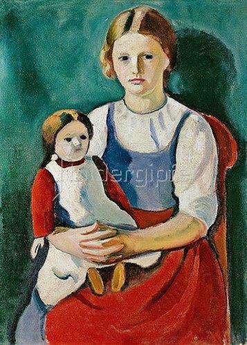 August Macke: Blondes Mädchen mit Puppe. 1910