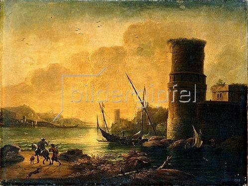 Salvator Rosa: Hafenansicht mit Turm.