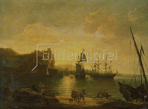 Salvator Rosa: Abendliche Hafenstimmung mit Seglern.