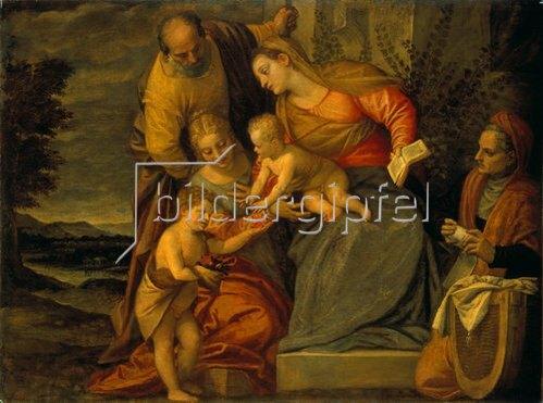 Paolo (Paolo Caliari) Veronese: Die Hl. Familie mit der heilgen Elisabeth und Johannes dem Täufer.