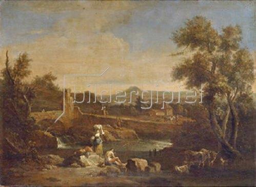 Francesco Zuccarelli: Flusslandschaft mit Wäscherin.