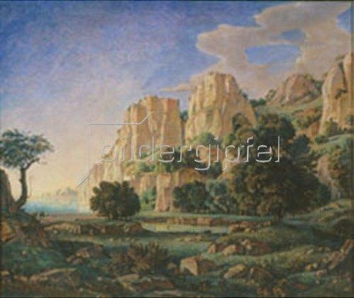 Konstantin Bogajevski: Felsige Morgenlandschaft auf der Krim. 1920er Jahre