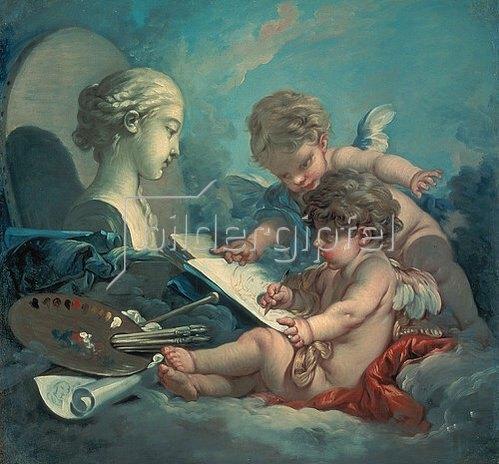 François Boucher: Zwei malende Putten. Allegorie der Malerei.