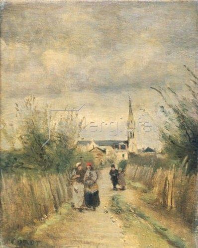 Jean-Baptiste Camille Corot: Auf dem Weg von der Kirche. Argenteuil, 1870-er Jahre.