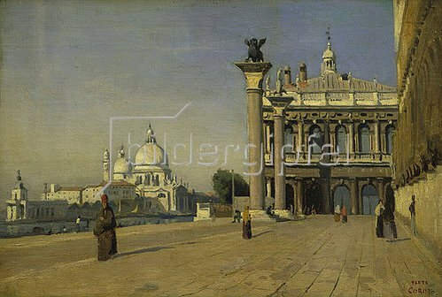 Jean-Baptiste Camille Corot: Morgens auf dem Markus-Platz in Venedig.