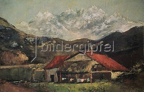 Gustave Courbet: Bauernhütte in den Bergen. Um 1874