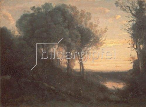 Jean-Baptiste Camille Corot: Rötlicher Sonnenuntergang. 1850/1860.