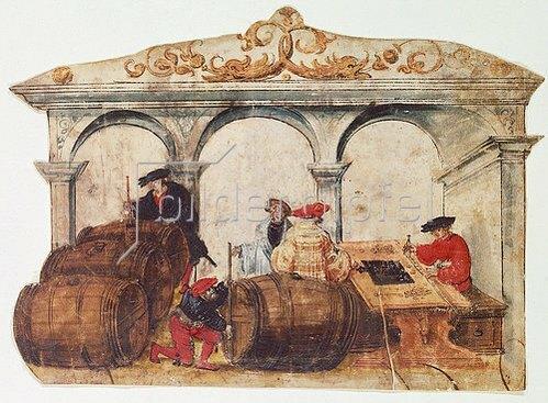 Hans Weiditz II.(oder Wyditz): Die Weinvermessung. Um 1530.