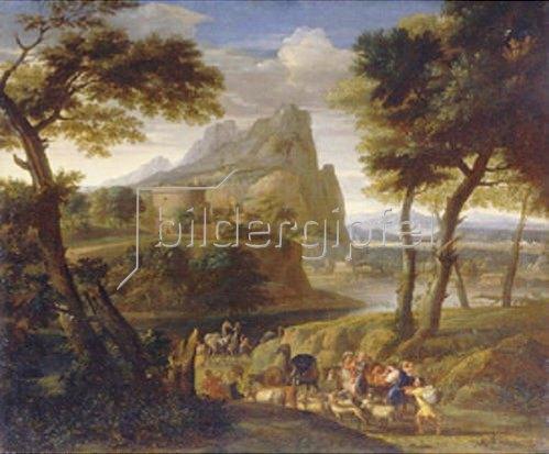 Gaspard Dughet: Landschaft mit einer Karawane.