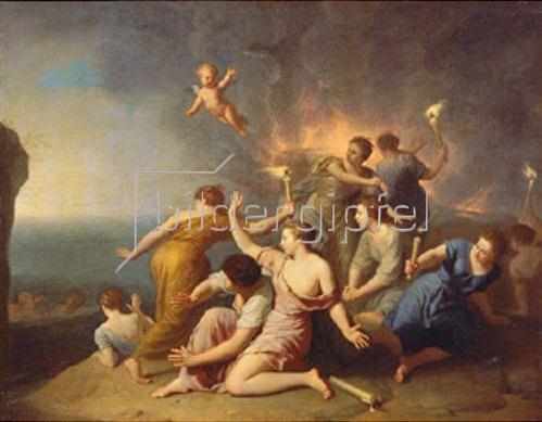 Henri Antoine de Favannes: Nymphen verbrennen das Schiff des Telemachos. 1746.