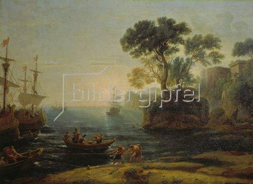 Claude Lorrain (Gellée): Die Ankunft Aeneas ´ in Italien, Beginn des römischen Reiches.