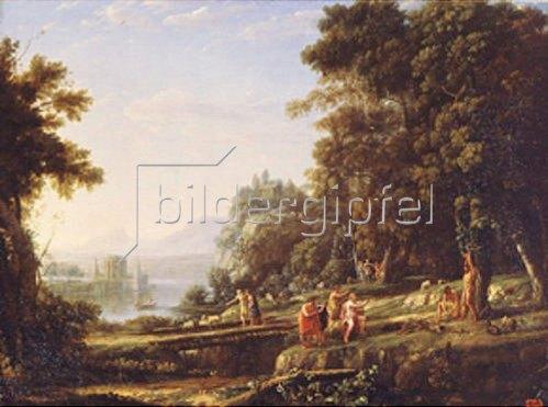 Claude Lorrain (Gellée): Landschaft mit Apollo und Marsyas. 1639/1640