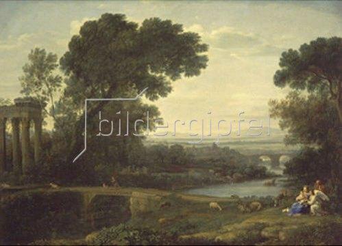 Claude Lorrain (Gellée): Landschaft zur Mittagszeit. 1661.
