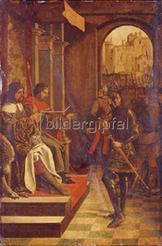 Meister des Hl. Sebastian (Liferinxe?): Der Hl. Sebastian vor den Kaisern Diokletian und Maximilian.