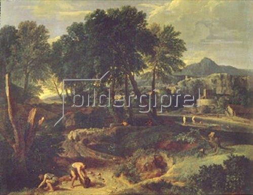 Jean-Francois I Millet: Landschaft mit Schafherde auf einem Weg.