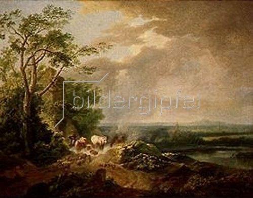 Karl Philip Schallhas: Windige Landschaft mit Viehhirt.