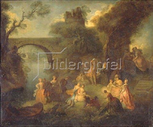 Pierre Antoine Quillard: Tanzvergnügen an einem Fluss-Ufer.