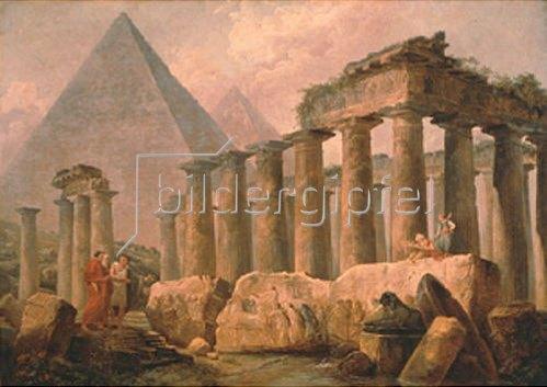 Hubert Robert: Pyramide und antiker Tempel. 1780-er Jahre.