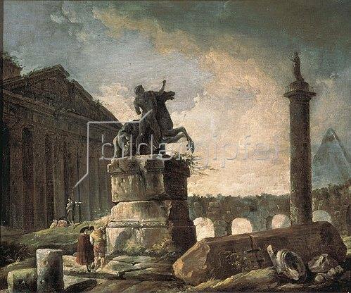 Hubert Robert: Ruinen mit Standbild und Bildsäule.