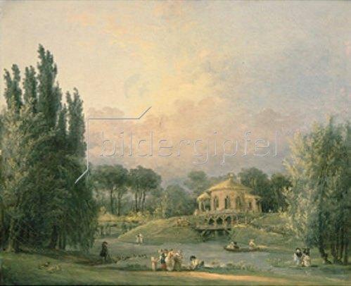Hubert Robert: Im Park mit einen Monopteros.