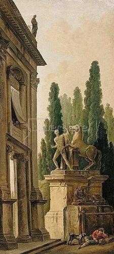 Hubert Robert: Landschaft mit Denkmal eines Pferdebändigers.