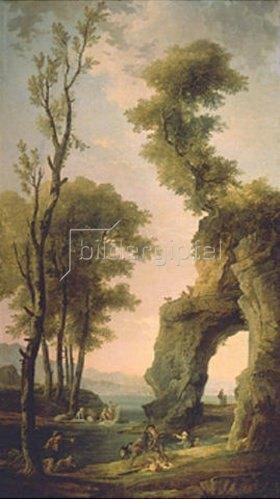 Hubert Robert: Landschaft mit Felsentor.